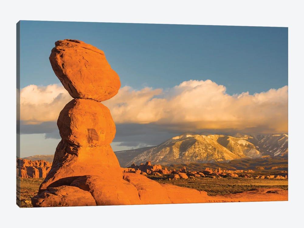 Sandstone formation, La Sal Mountains, Arches National Park, Utah by Jeff Foott 1-piece Canvas Art Print
