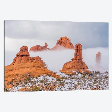Sandstone formations in mist, Arches National Park, Utah Canvas Print #JFF81} by Jeff Foott Canvas Artwork