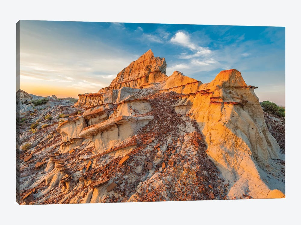 Sandstone rock formations, Theodore Roosevelt National Park, North Dakota by Jeff Foott 1-piece Canvas Print