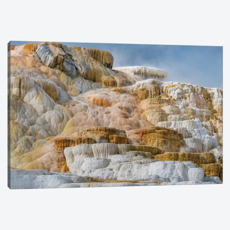 Travertine formations, Mammoth Hot Springs, Yellowstone National Park, Wyoming Canvas Print #JFF93} by Jeff Foott Art Print