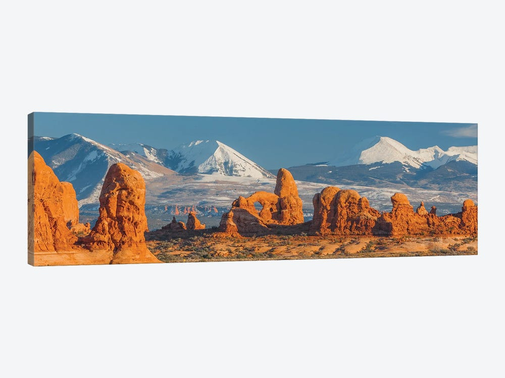 Turret Arch in winter, La Sal Mountains, Arches National Park, Utah by Jeff Foott 1-piece Canvas Artwork