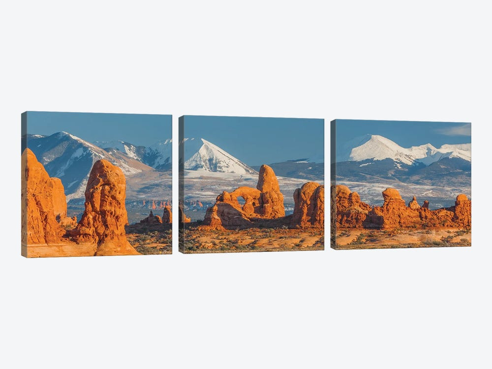 Turret Arch in winter, La Sal Mountains, Arches National Park, Utah by Jeff Foott 3-piece Canvas Art