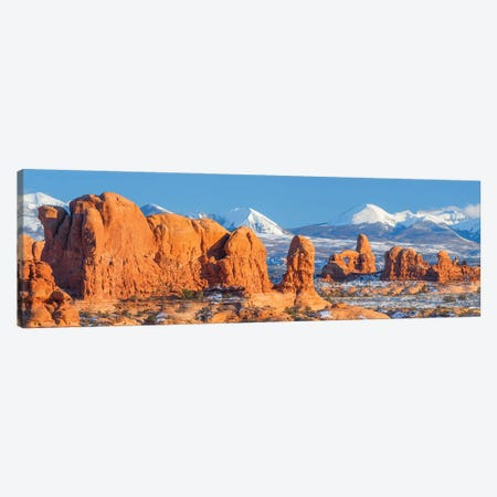 Turret Arch in winter, La Sal Mountains, Arches National Park, Utah Canvas Print #JFF98} by Jeff Foott Canvas Print