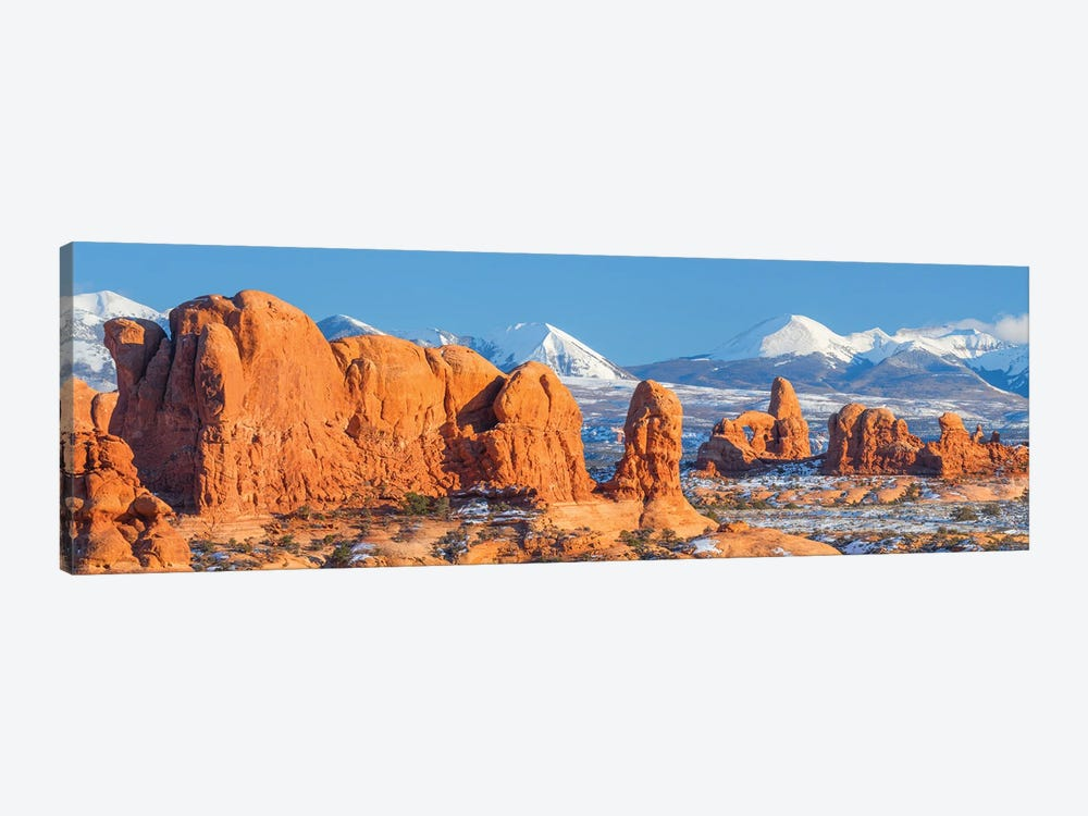 Turret Arch in winter, La Sal Mountains, Arches National Park, Utah by Jeff Foott 1-piece Canvas Art