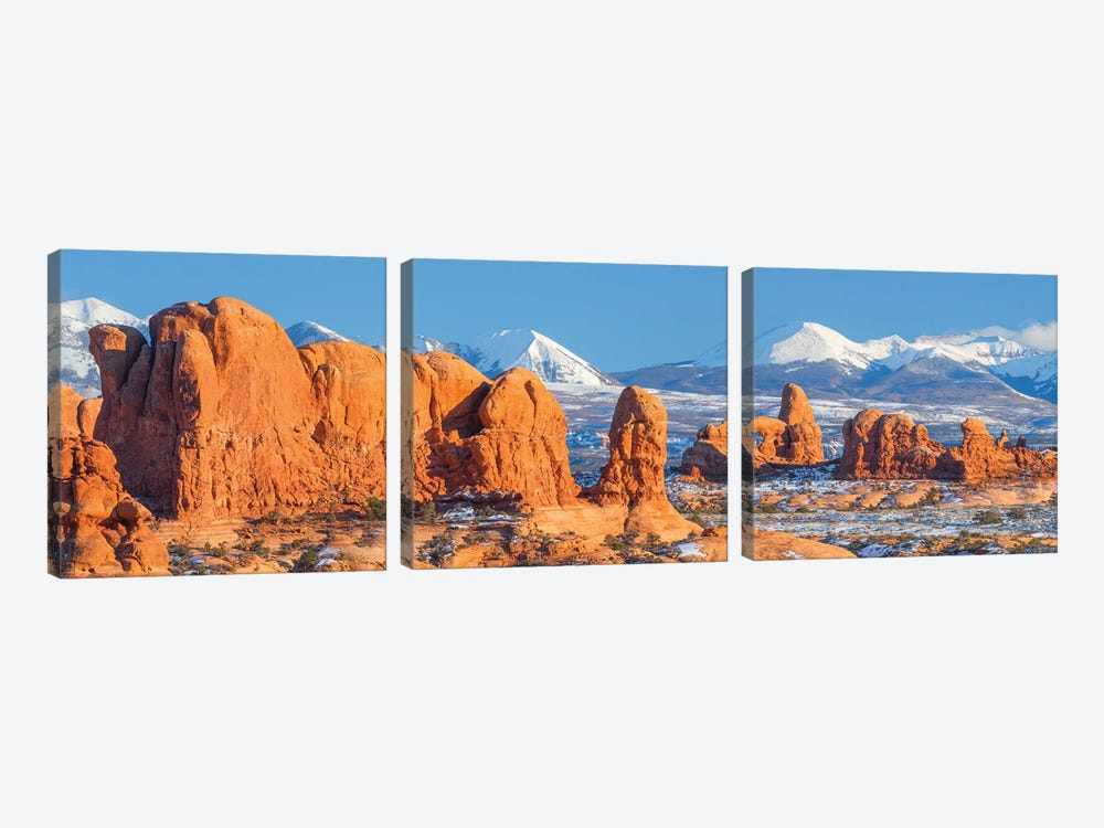 Turret Arch in winter, La Sal Mountains, Arches National Park, Utah by Jeff Foott 3-piece Canvas Wall Art