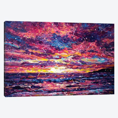 Santa Monica Sunset Canvas Print #JFJ12} by Jeff Johnson Canvas Art Print