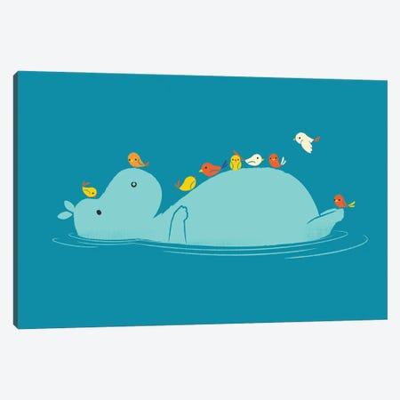Floating Hippo Canvas Print #JFL103} by Jay Fleck Canvas Art