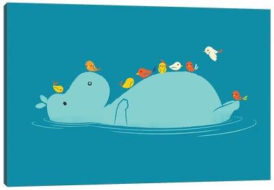 Floating Hippo Canvas Art Print