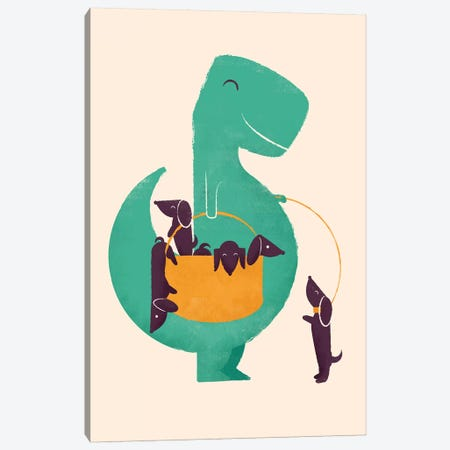 T-Rex And His Basketful Of Wiener Dogs Canvas Print #JFL18} by Jay Fleck Canvas Art Print