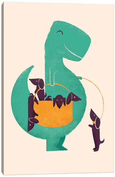 T-Rex And His Basketful Of Wiener Dogs Canvas Art Print