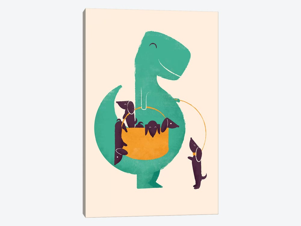 T-Rex And His Basketful Of Wiener Dogs by Jay Fleck 1-piece Canvas Wall Art
