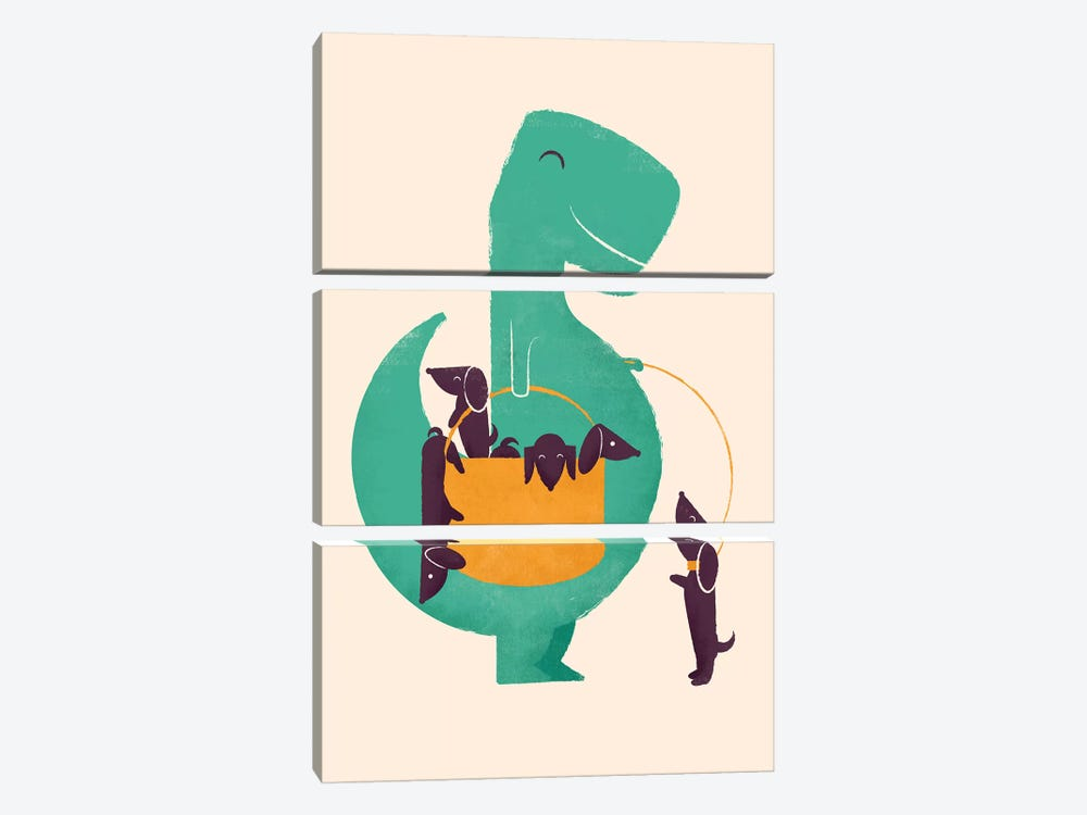 T-Rex And His Basketful Of Wiener Dogs by Jay Fleck 3-piece Canvas Wall Art