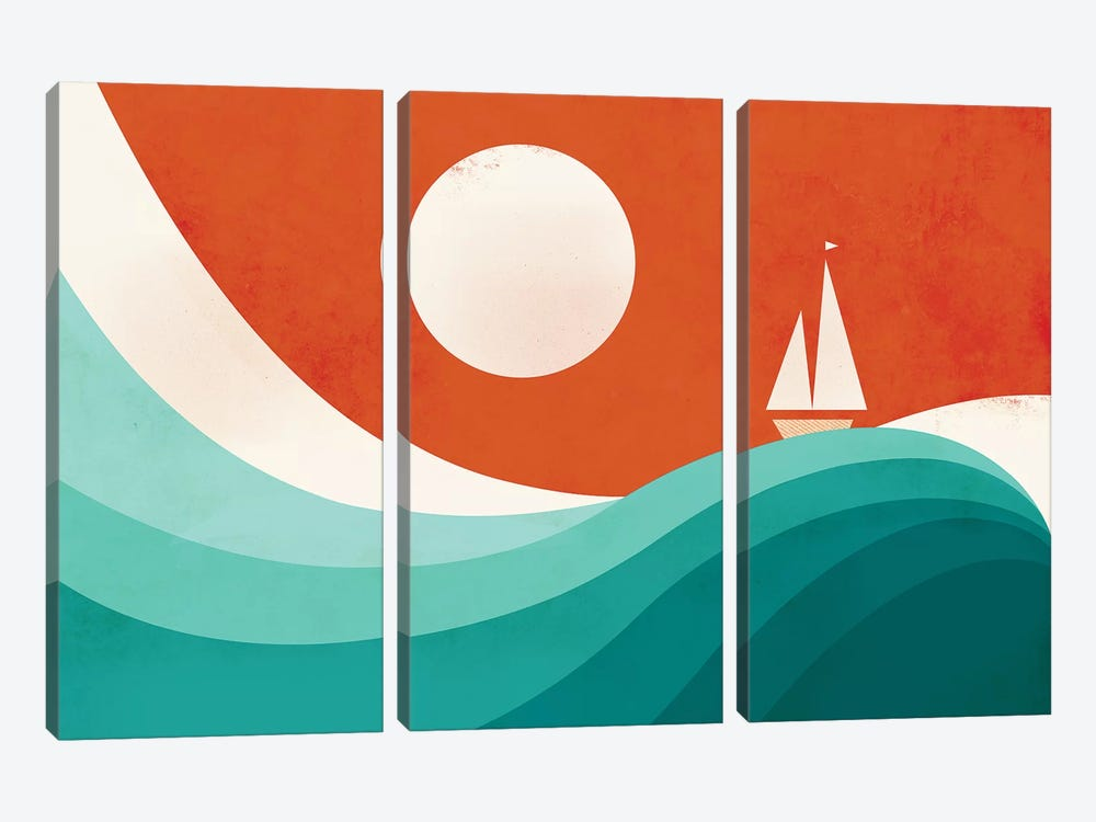 Wave (Night) by Jay Fleck 3-piece Canvas Artwork