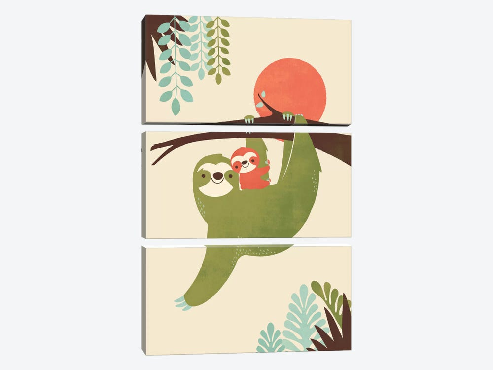 Mama Sloth by Jay Fleck 3-piece Canvas Print