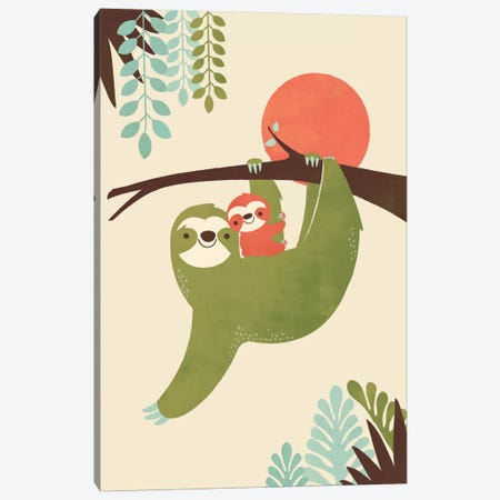 Mama Sloth Canvas Print #JFL24} by Jay Fleck Art Print