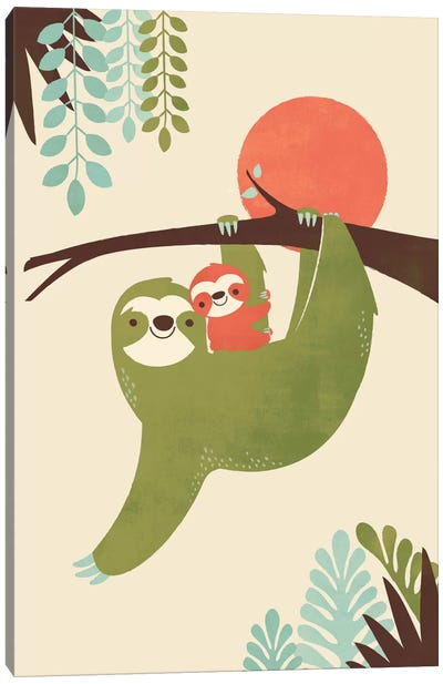 Mama Sloth Canvas Art Print