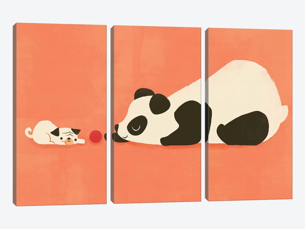 The Pug And The Panda by Jay Fleck 3-piece Canvas Art