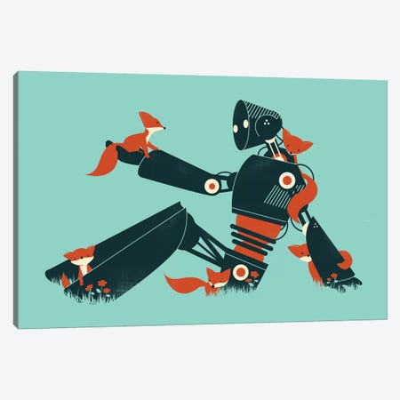 Foxes And Robot Canvas Print #JFL35} by Jay Fleck Canvas Artwork