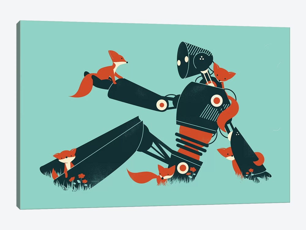 Foxes And Robot by Jay Fleck 1-piece Art Print