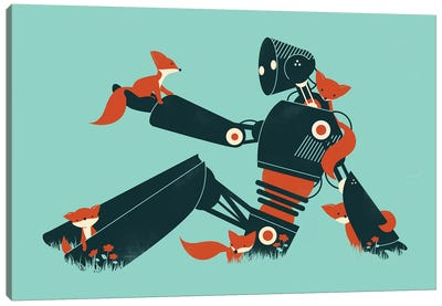 Foxes And Robot Canvas Art Print