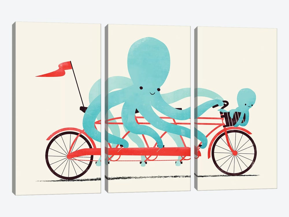 My Red Bike by Jay Fleck 3-piece Canvas Art