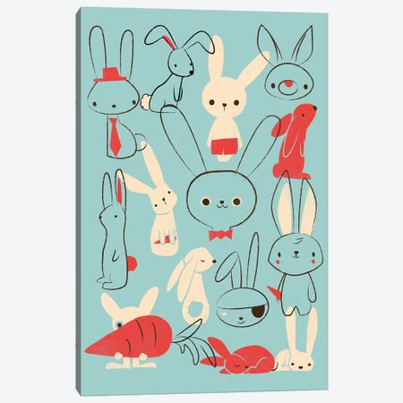 Bunnies Blue Canvas Print #JFL68} by Jay Fleck Canvas Artwork