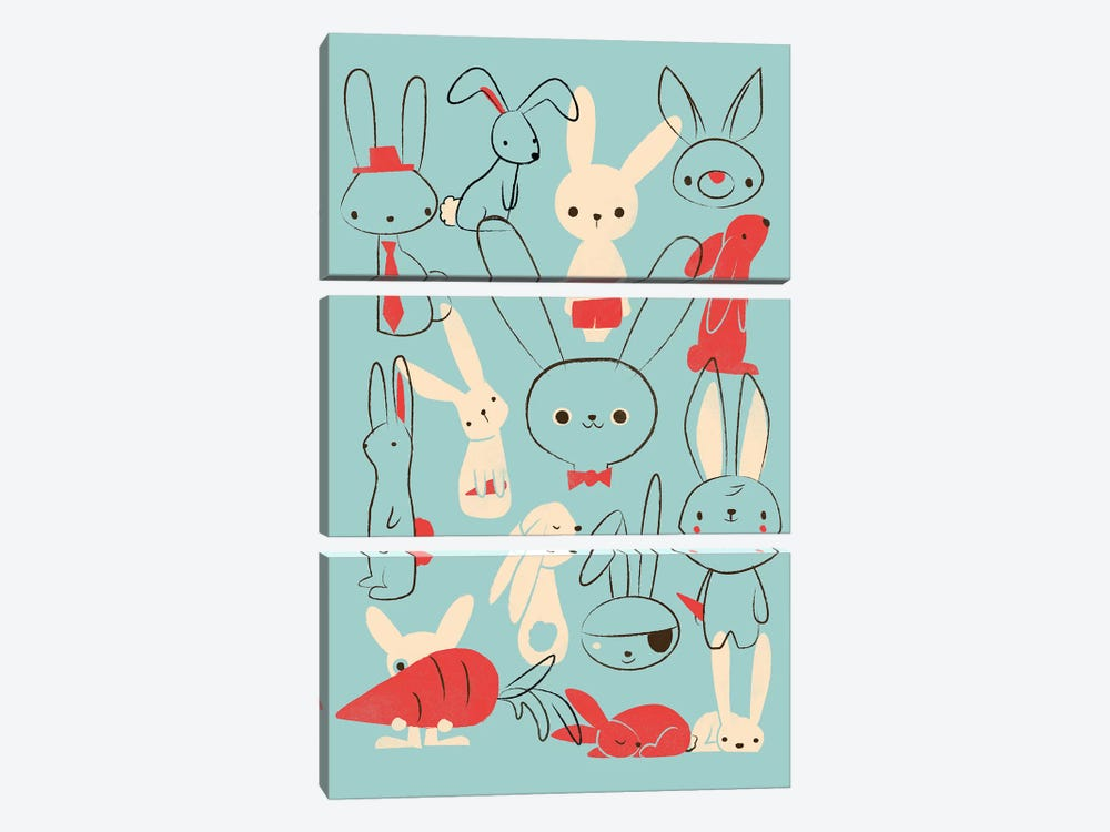 Bunnies Blue by Jay Fleck 3-piece Canvas Art Print