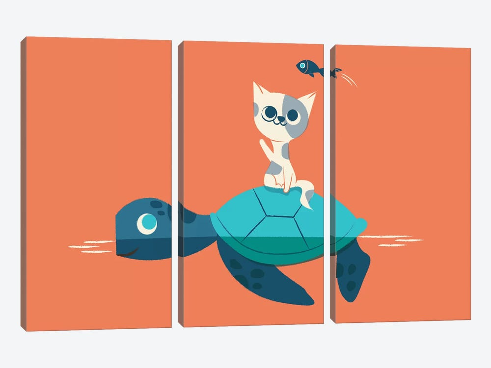 Cat And Turtle by Jay Fleck 3-piece Canvas Wall Art