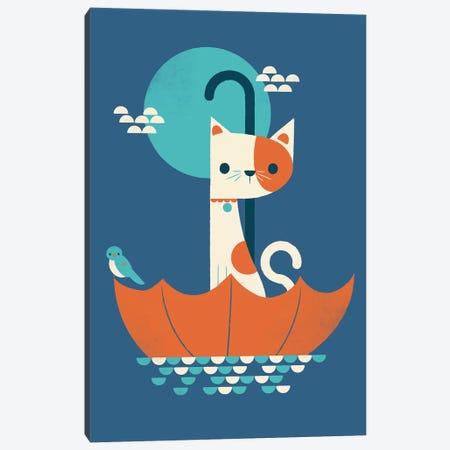 Cat In Umbrella Canvas Print #JFL70} by Jay Fleck Canvas Art Print