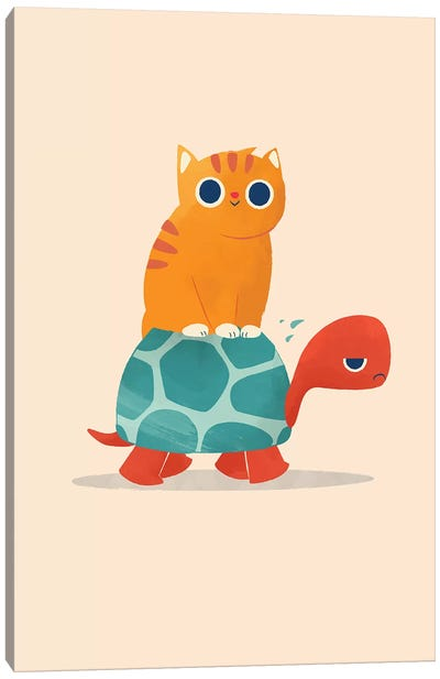 Fat Cat Rides A Turtle Canvas Art Print
