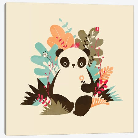 Flower Panda Canvas Print #JFL76} by Jay Fleck Canvas Wall Art