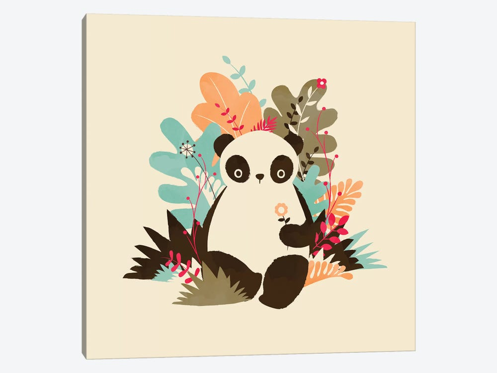 Flower Panda by Jay Fleck 1-piece Canvas Wall Art