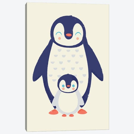 Mama Penguin Canvas Print #JFL80} by Jay Fleck Canvas Artwork