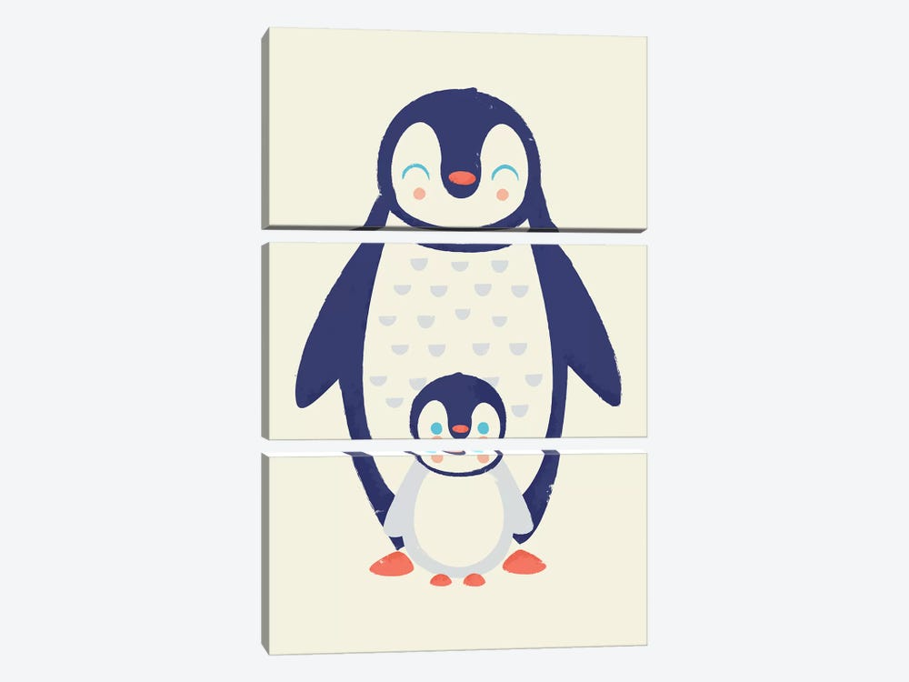 Mama Penguin by Jay Fleck 3-piece Canvas Print