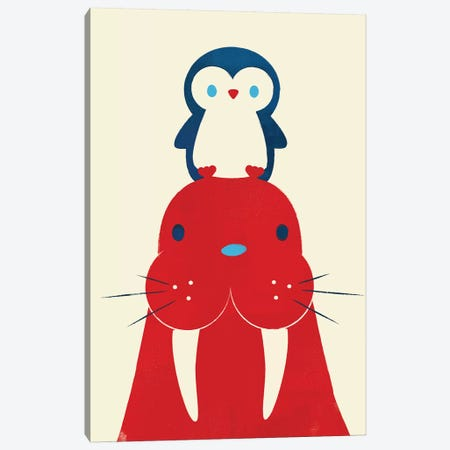 Penguin And Walrus Canvas Print #JFL86} by Jay Fleck Canvas Print