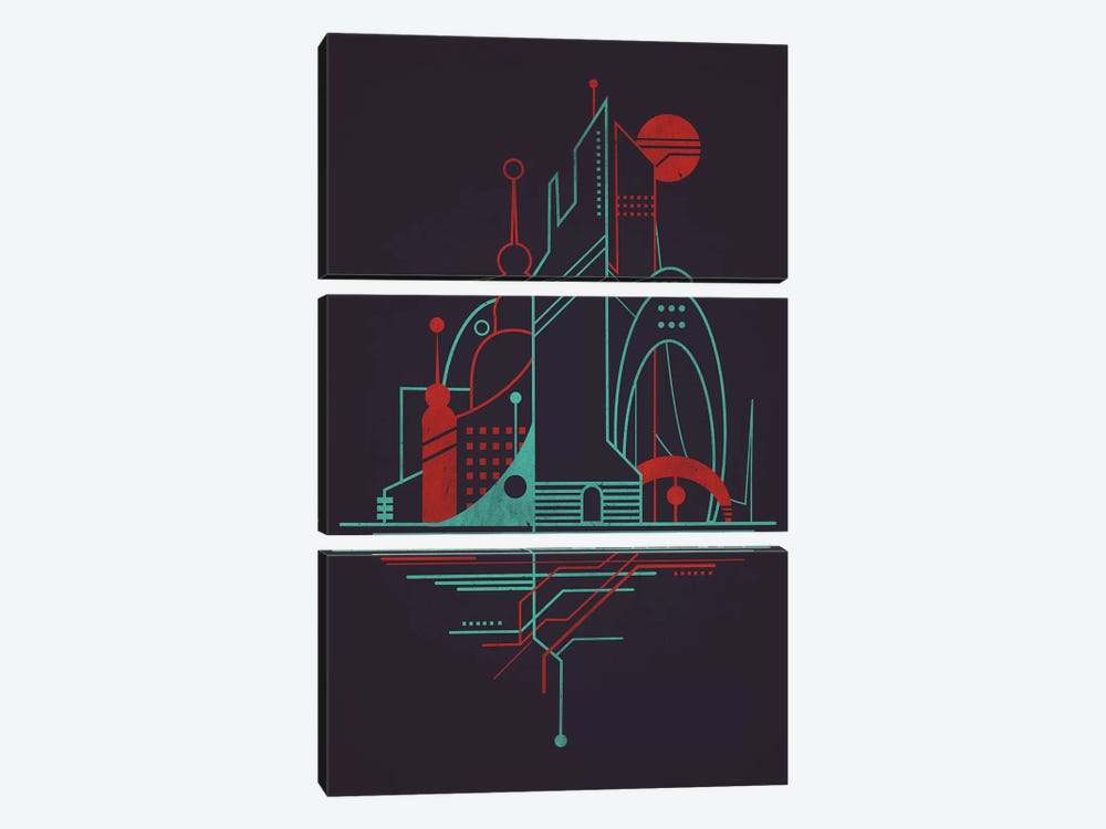 Subway Sky Night by Jay Fleck 3-piece Canvas Wall Art