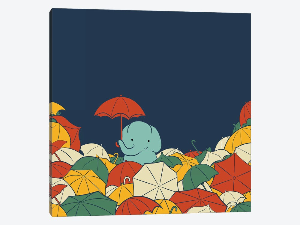 Umbrella Elephant by Jay Fleck 1-piece Canvas Wall Art