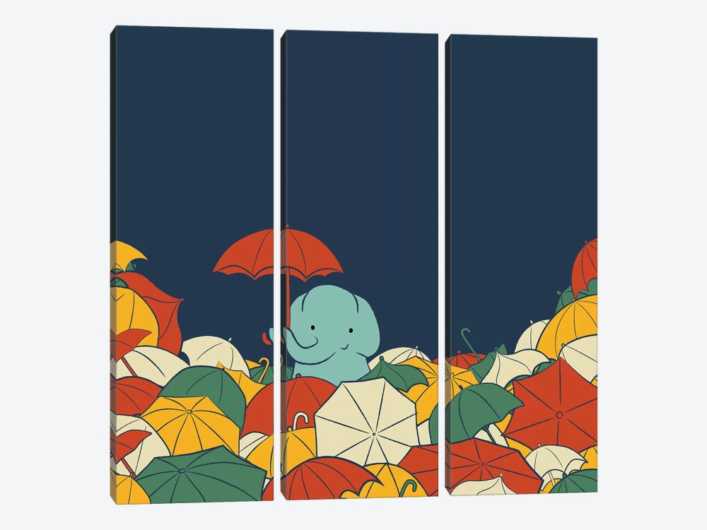 Umbrella Elephant by Jay Fleck 3-piece Canvas Wall Art