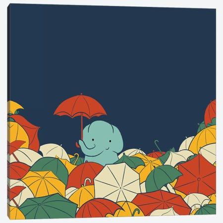 Umbrella Elephant Canvas Print #JFL92} by Jay Fleck Art Print