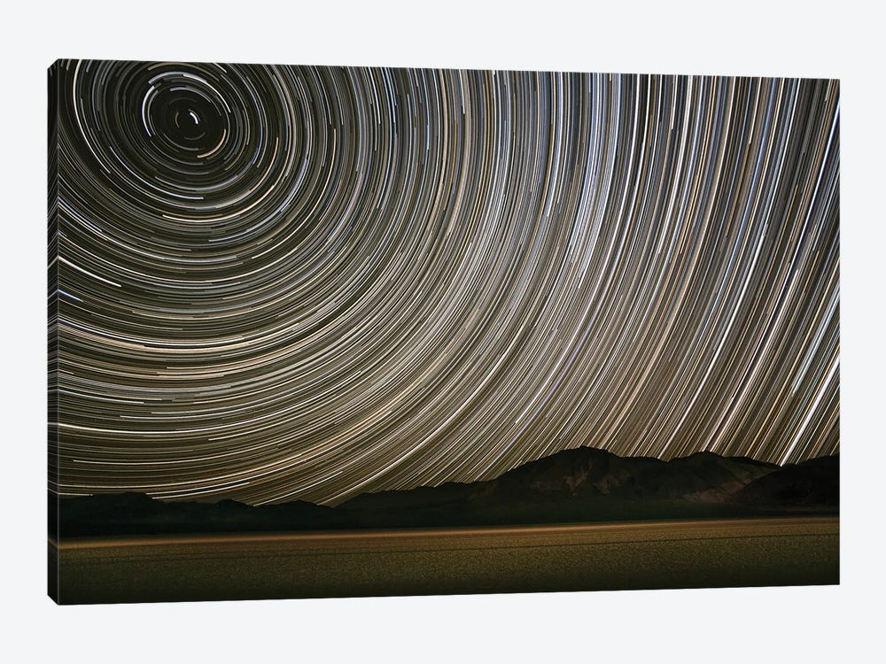 Long Exposure Star Trails Over Racetrack Playa, Death Valley National Park, Inyo County, California, USA by John Ford 1-piece Canvas Wall Art