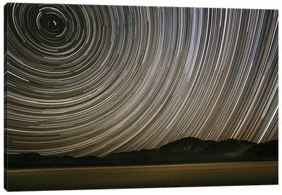 Long Exposure Star Trails Over Racetrack Playa, Death Valley National Park, Inyo County, California, USA Canvas Art Print