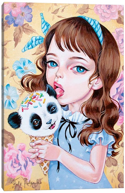 Panda Ice Cream Canvas Art Print