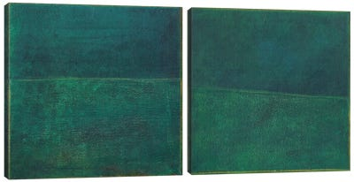 Green Zen Diptych Canvas Art Print