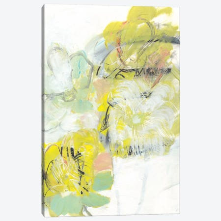 Yellow Floral Abstract I Canvas Print #JFU39} by Jodi Fuchs Canvas Wall Art