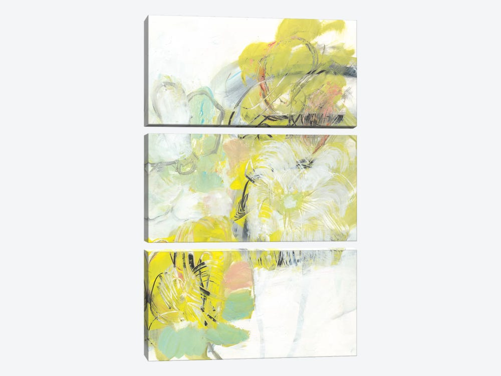 Yellow Floral Abstract I by Jodi Fuchs 3-piece Canvas Wall Art