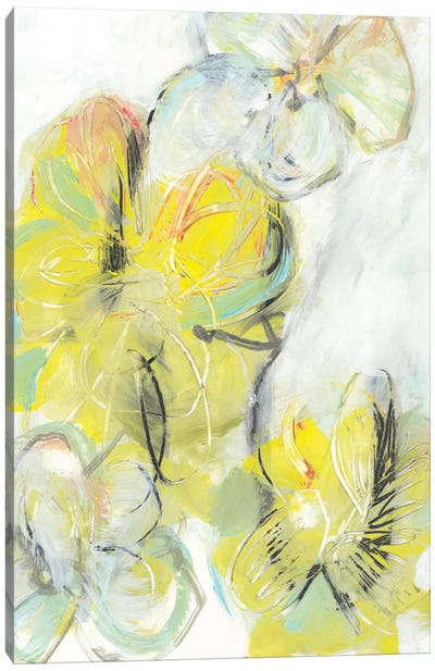 Yellow Floral Abstract II Canvas Art Print
