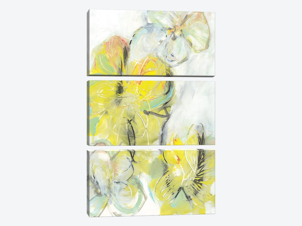 Yellow Floral Abstract II by Jodi Fuchs 3-piece Canvas Art