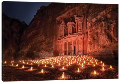 Petra By Night Canvas Art Print