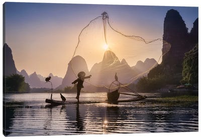Fishing The Sun Canvas Art Print