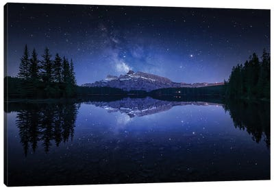 Perfect Two Jack Lake Reflection Canvas Art Print